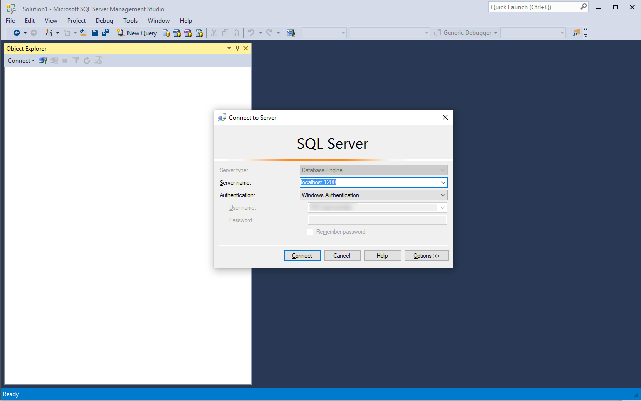 Connection to Querona in SQL Server Management Studio